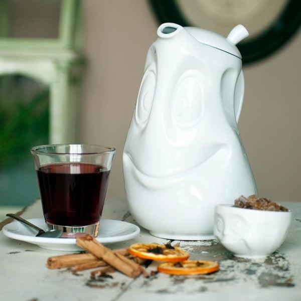 Biały roześmiany porcelanowy dzbanek do herbaty 58products, 1,2 l