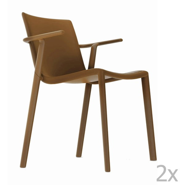 Zestaw 2 brązowych krzeseł ogrodowych z podłokietnikami Resol Kat