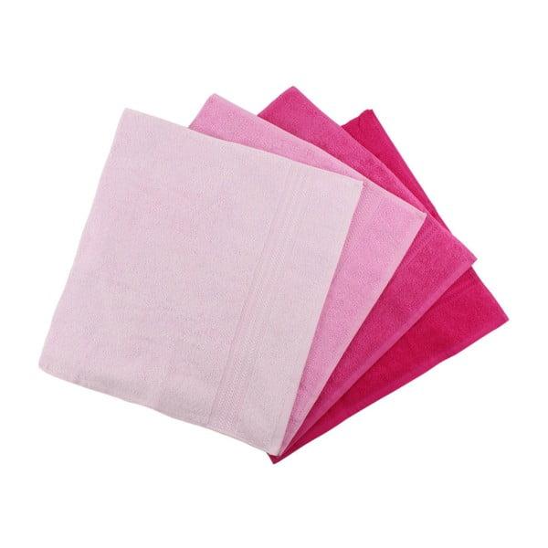 Zestaw 4 różowych ręczników Rainbow, 50x90cm