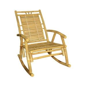 Żółty fotel bujany z bambusu Leitmotiv