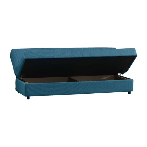 Niebieska trzyosobowa sofa rozkładana ze schowkiem Esidra Pause