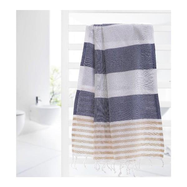 Ręcznik Hamam Ellis Dark Blue/Beige, 100x180 cm