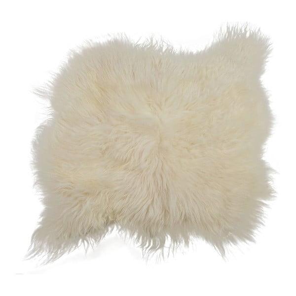 Biały dywan futrzany z długim włosiem, 90x80 cm