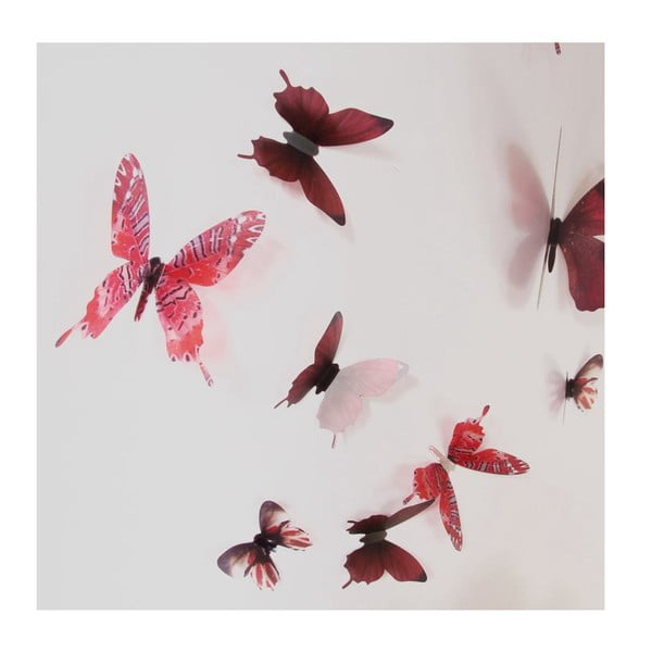 Zestaw 18 naklejek elektrostatycznych 3D Ambiance Butterflies Chic Red