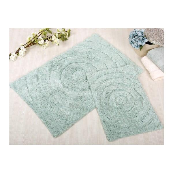 Zestaw 2 miętowych dywaników łazienkowych Irya Home Waves, 60x100 cm i 40x60 cm