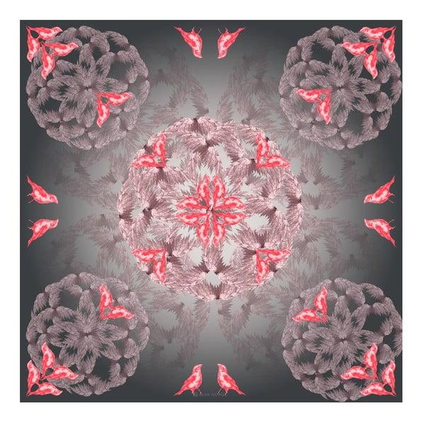 Chusta jedwabna Birdy Pink, 130x130 cm
