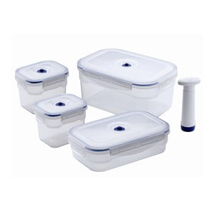 Zestaw 4 pojemników próżniowych na żywność z pompką Compactor Food Saver