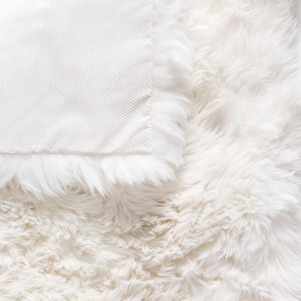 Biały dywan kwadratowy z owczej wełny Royal Dream Zealand