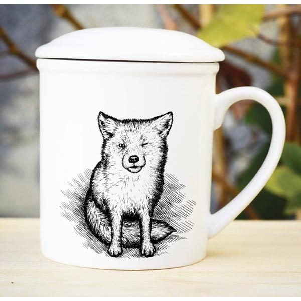 Porcelanowy kubek z przykrywką i sitkiem Little Fox, 300 ml