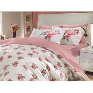 Pościel z prześcieradłem Paris Spring Pink, 200x220 cm