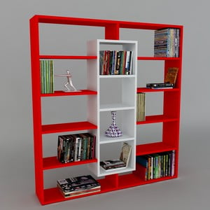 Biblioteczka Ample Red/White, 22x125x135,7 cm