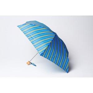 Składany parasol Stripe, zielono-niebieski