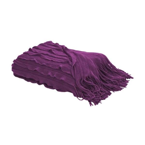 Koc z frędzlami 127x152 cm, fioletowy