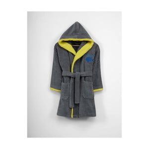 Dětský šedý bavlněný župan s kapucí, 3-6 let