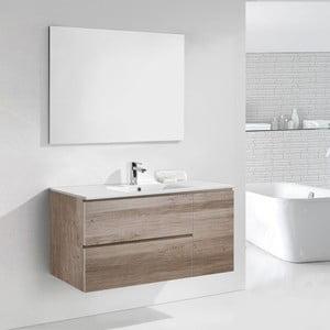 Szafka do łazienki z umywalką i lustrem Happy, motyw dębu, 120 cm
