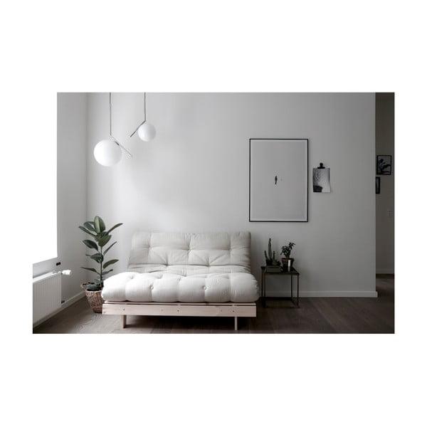 Sofa rozkładana z beżowym lnianym pokryciem Karup Design Roots Raw/Linen