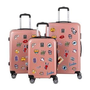 Zestaw 3 walizek w kolorze przydymionego różu naklejkami Berenice Stickers
