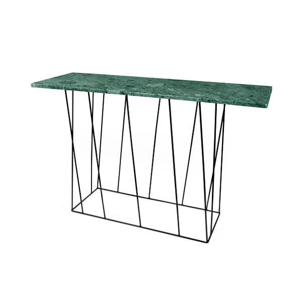 Zielona konsola marmurowa z czarnymi nogami TemaHome Helix