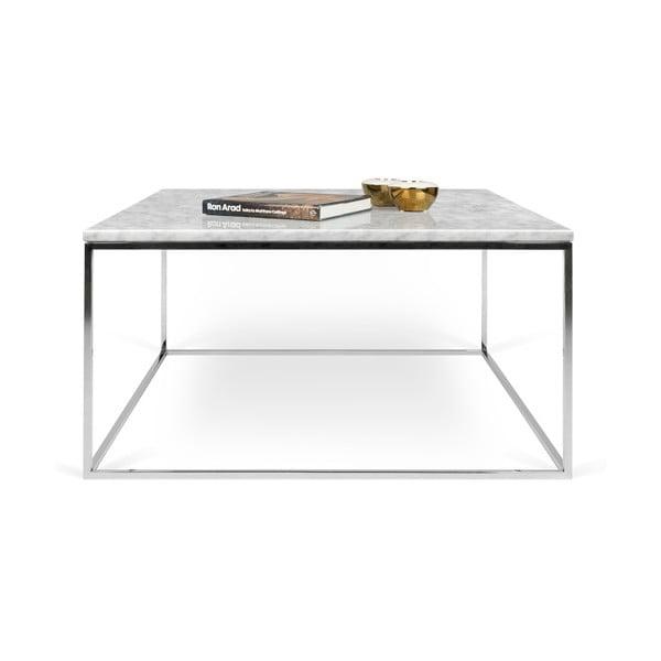 Biały stolik marmurowy z chromowanymi nogami TemaHome Gleam, dł. 75 cm