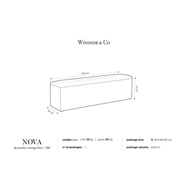 Ciemnoszara ławka tapicerowana ze schowkiem Windsor & Co Sofas Nova, 160x47 cm