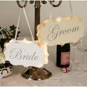 Dekoracja ślubna z lampką LED Groom Chair