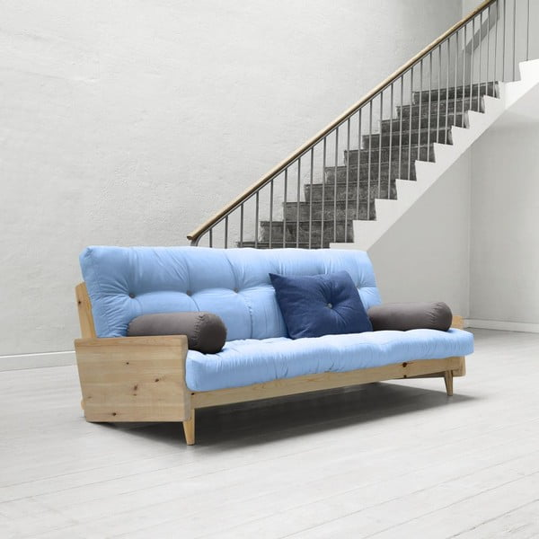 Sofa rozkładana Karup Indie Clear Lacquered/Celeste/Gris