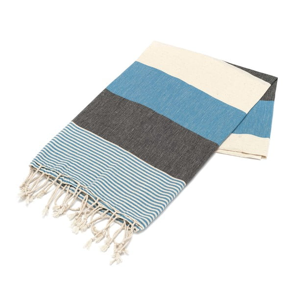Ręcznik hammam American Fouta Petrol Blue, 100x180 cm