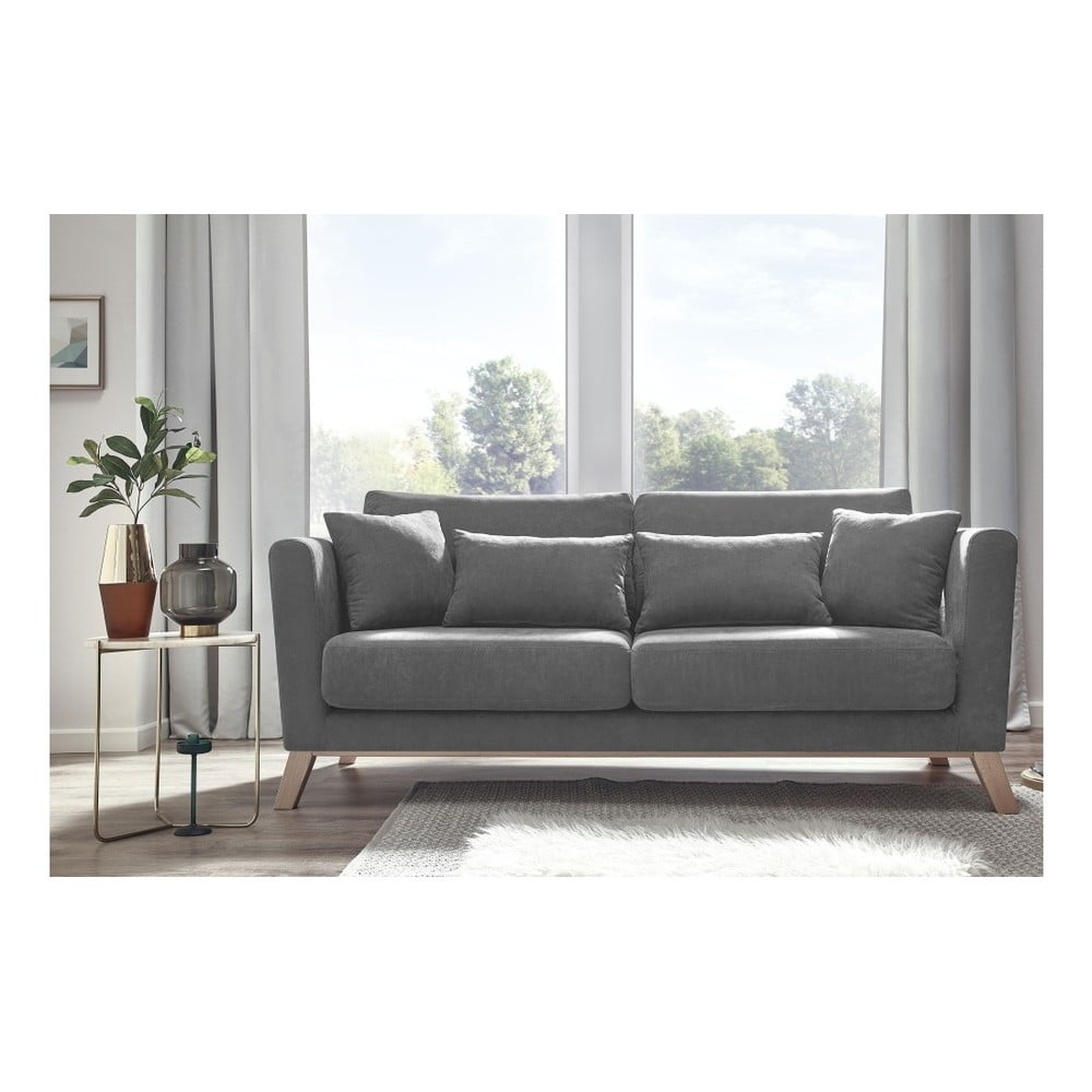 Szara sofa 2-osobowa Bobochic Paris Doblo