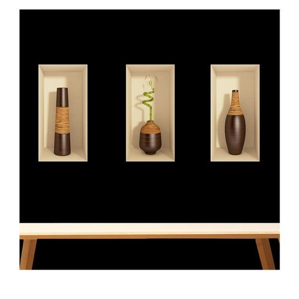 Zestaw 3 naklejek na ścianę 3D Ambiance Bamboo, 60 x 30 cm