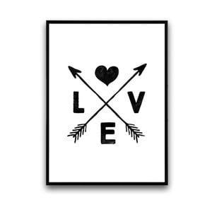 Plakat w drewnianej ramie Cross love, 38x28 cm