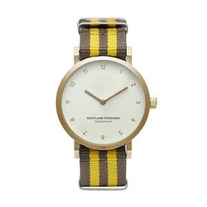 Zegarek unisex z brązowo-żółtym paskiem South Lane Stockholm Sodermalm Gold Stripes