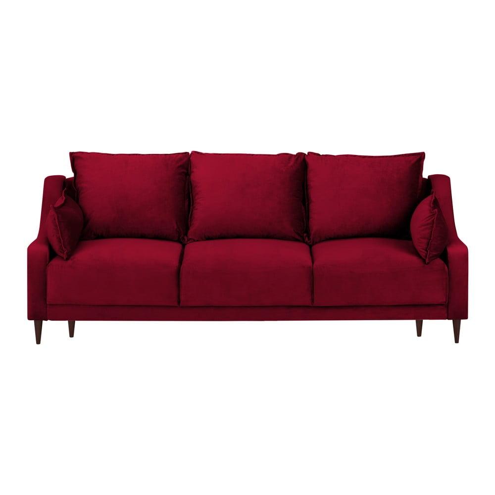 Czerwona rozkładana sofa ze schowkiem Mazzini Sofas Freesia, 215 cm