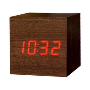 Ciemnobrązowy budzik z czerwonym wyświetlaczem LED Gingko Cube Click Clock