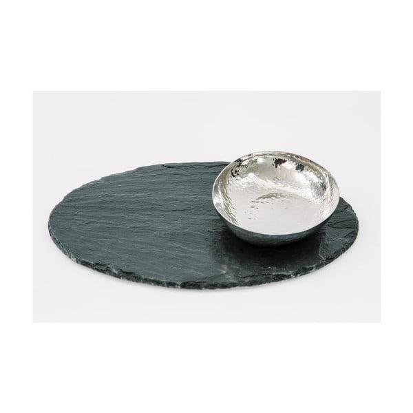 Miska na podstawce z łupka kamiennego Oval Fusion