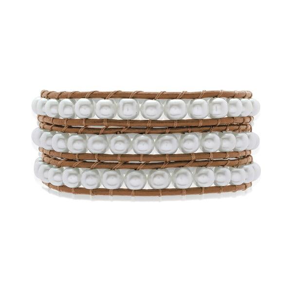Brązowa trzyrzędowa bransoletka ze skóry z perłami Lucie & Jade