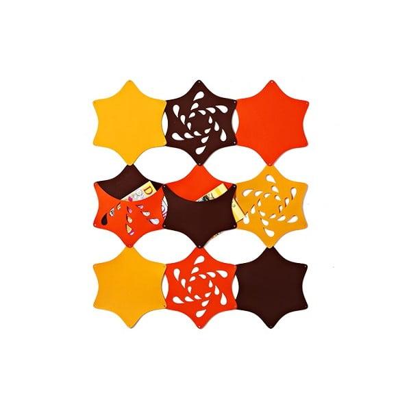 Filcowe kieszonki wiszące Kwiaty, żółty/pomarańczowy/brązowy
