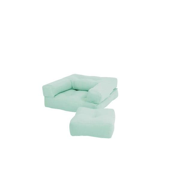 Miętowy dziecięcy fotel rozkładany z podnóżkiem/pufem Karup Design Mini Cube Mint