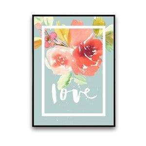 Plakat z kwiatami Love, niebieskie tło, 30 x 40 cm