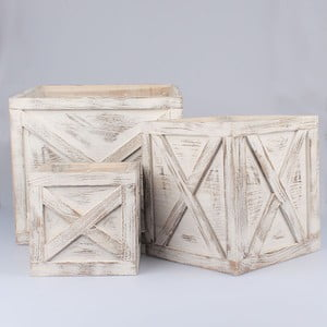Zestaw 3 dekoracyjnych skrzynek na doniczki Vintage