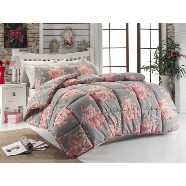 Narzuta pikowana na łóżko jednoosobowe Rengi Grey, 155x215 cm