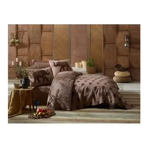 Brązowa pościel na jednoosobowe łóżko z lekką narzutą Fil