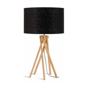 Lampa stołowa z czarnym kloszem i konstrukcją z bambusa Good&Mojo Kilimanjaro