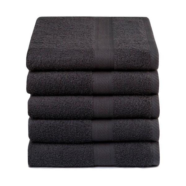Zestaw 5 ciemnoszarych ręczników Ekkelboom, 50x100 cm
