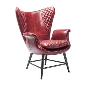 Czerwony fotel z anilinové kůže Kare Design Tudor