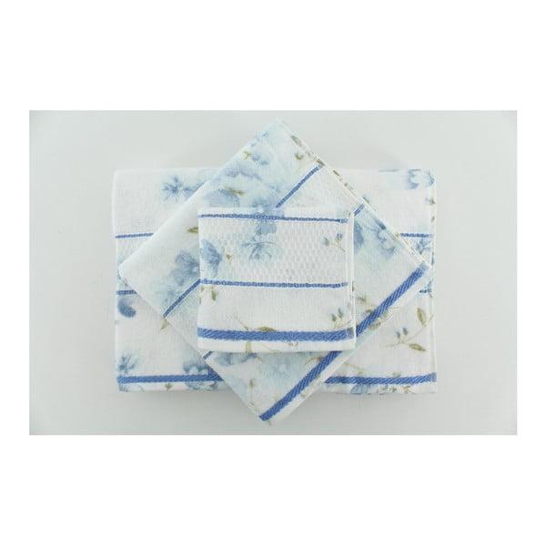 Zestaw 3 ręczników Camene Blue, 30x50 cm + 50x90 cm + 70x140 cm