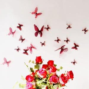 Naklejka Motyle 3D, czerwone