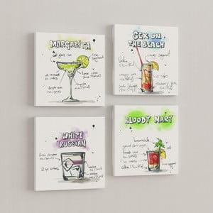 Zestaw 4 obrazów Drinki
