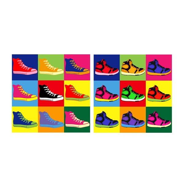 Zestaw obrazów na szkle Trampki, 20x20 cm, 2 szt