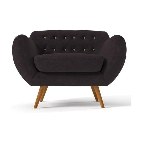 Ciemnobrązowy   fotel z beżowymi guzikami Wintech Indigo