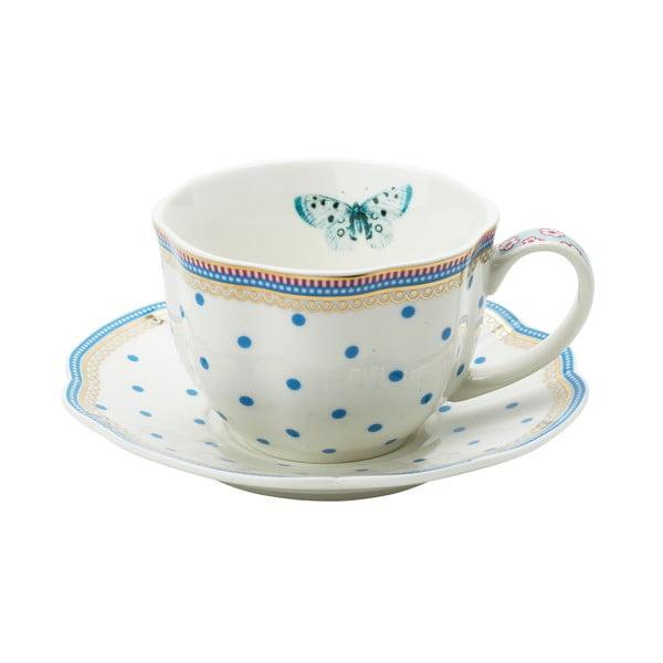 Porcelanowa filiżanka ze spodkiem Dottie Lisbeth Dahl, 2 szt.